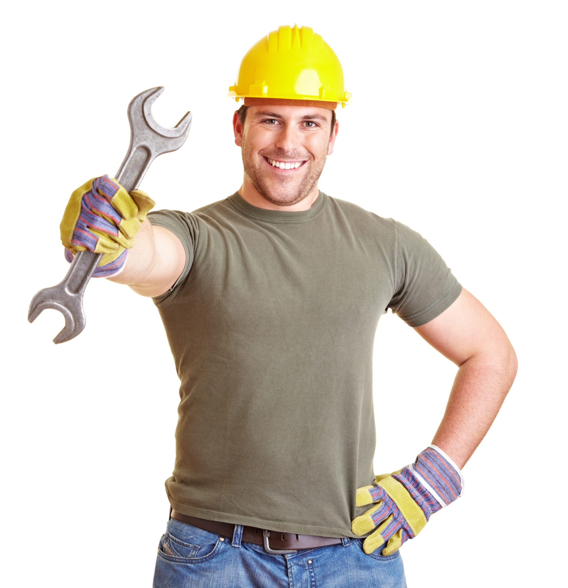 Lächelnder Bauarbeiter zeigt einen großen Doppelmaulschlüssel